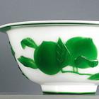 Peking Beijing Glass Bowl Emerald Green Peaches