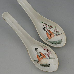 Pair Famille Rose Chinese Porcelain Spoons, Marked