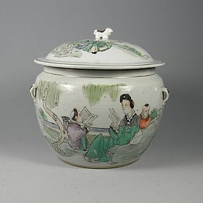 Chinese Porcelain Qingjiang Rice Pot with Lid