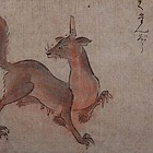 Mythical Animal Pastel and Ink on Paper by Seisei Shugetsu, Edo