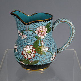 Rare 19th C Chinese Cloisonne Pitcher with Flowers