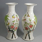 Pair Chinese Porcelain Vases with Birds, Qing Replublic
