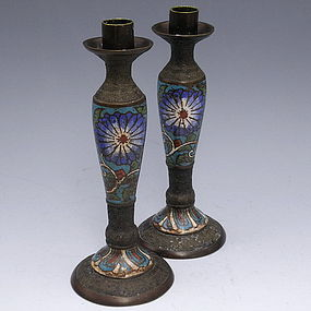 Chinese Bronze Champleve Enamel Candlesticks Holder