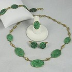 14K Green Jade Necklace Ring and Earrings