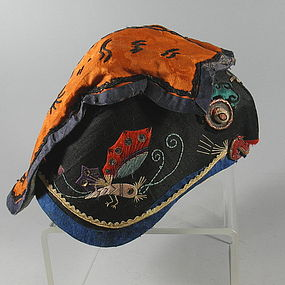 Chinese Miao Child's Tiger Wind Hat Embroidered