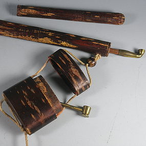 Antique Japanese Cherry Bark Kiseru with Two Pipes