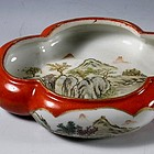 Qianjiang Painting Porcelain Coral Dish Signed