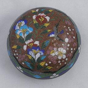 Japanese Round Cloisonne Cosmetic Box, Meiji