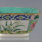 Unusual Square Chinese Porcelain Bowl with Flowers