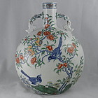 Large Chinese Porcelain Doucai Moon Flask Vase