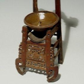Rare Ornate Chair Style Wood Opium Den Lamp