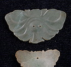 3 Chinese Green Jade Butterfly Hat Ornaments Pin
