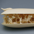 Large Carved Ivory Clam Shell Village Scene w/ Horse
