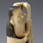 Ivory Carving Japanese Lucky God of Wisdom Statue