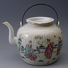 Chinese Ribbed Porcelain Famille Rose Teapot