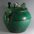 Large Chinese Green Glaze Shiwan Pot with Spout and Lid