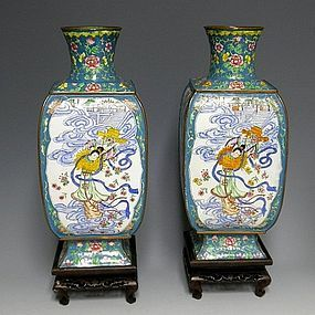 Large Chinese Canton Enamel Vases with Chang'e