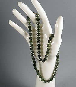21 Inch Dark Green Jade Beaded Necklace Strand
