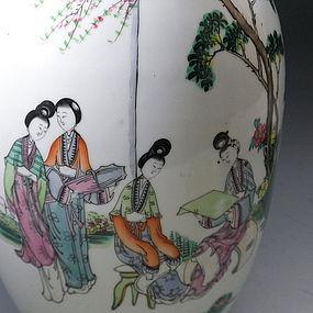 Tall Chinese Porcelain Famille Rose Vase Garden
