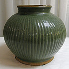 Chinese Ribbed Celadon Green Stoneware Jar Pot