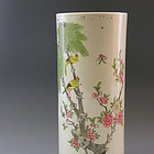 Famille Rose Qianjiang Painting Hat Stand Vase
