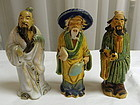 3 Chinese Clay Mudmen Mud Men Scholar Statue