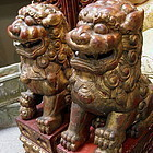 Red Pair Chinese Wood Fu Lions Foo Dog Statue Carving, 19th C