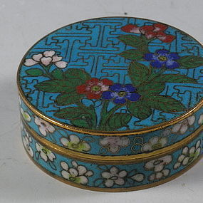 Chinese Small Round Cloisonne Ink Box with Gold Gilt