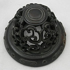 Antique Chinese Hand Carved Hardwood Jar Lid Cap