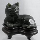 Reclining Spinach Jade Cat Statue Rosewood Stand