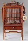 Antique Chinese Bamboo Wood Cricket Cage with Water Dish