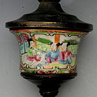 Rose Mandarin Porcelain Bronze Gas Wall Lamp