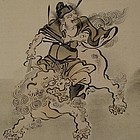 Japanese Silk Painting Shoki the Demon Slayer, 19th C
