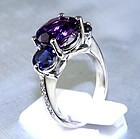 Platinum Ring with Diamonds, Amethyst, Blue Iolites