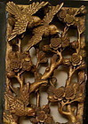 Antique Chinese Gold Panel Wood Carving Birds