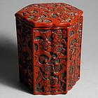 Japanese Deep Red Lacquer Cinnabar Octagonal Box