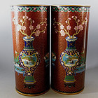 Pair Cloisonne Gold Gilt Chinese Hat Stand Vases