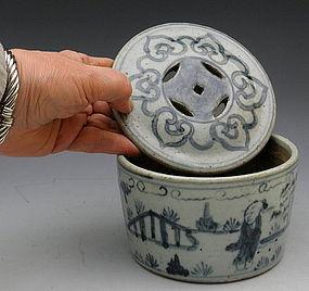 Chinese Scholar's Underglaze Blue Cricket Jar
