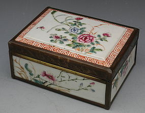 Chinese Porcelain Famille Rose Hinged Box, MK