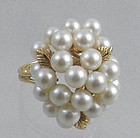 Cluster Pearl 14K Yellow Gold Cocktail Ring