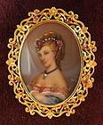 18K Gold Ruby Painted Porcelain Portrait Brooch Pendant