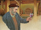 Emanuel Schary Oil on Board Painting Wine Tester