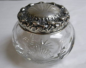 Cut Crystal Powder Dresser Box Sterling Silver Lid