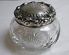 Cut Crystal Powder Dresser Box Sterling Silver Lid
