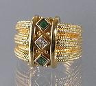 Modern 14K Gold Emerald and Diamond Ring