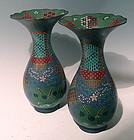 Rare Pair Tall Japanese Cloisonne Vases, Late Edo