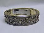 Designer Sterling Silver Hinged Oval Bangle Bracelet