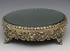 Antique Footed Silver Repousse Floral Mirrored Plateau
