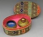 Cloisonne Yellow Ground Salt Pepper Set, Original Box