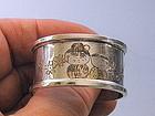 Signed Japanese Sterling Silver Napkin Ring Children